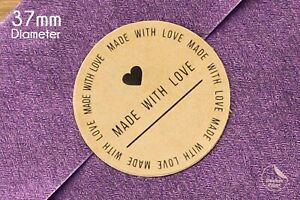37mm Made With Love Circle Kraft Stickers, Round Labels, Wedding, Toppers, Seals