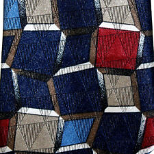 "Town Craft Mens Necktie Blues Red Beige Square Geometric Print 56"" x 4"" USA Made"