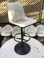 3 x Sebel bar stools chairs Black and White retro Eames Panton era MCM Saarinen