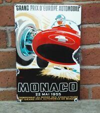 MONACO GRAND PRIX enamel sign vitreous rust enamel garage MEDIUM VAC202AGED