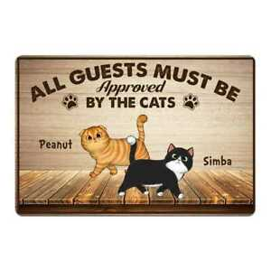 Personalized All Guest Must Be Approved By The Cats Walking Cats Front Door Mat