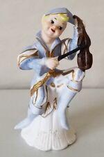 Vintage Blue Gold Minstrel Elf Porcelain Figurine