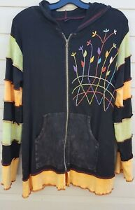 Cotton Women's Size Large, Hoodie Distress Look, Color Block, New without tags