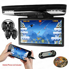 "HDMI 15.6"" Monitor Coach Roof Mount Flip Down DVD USB Game Player IR Headsets"