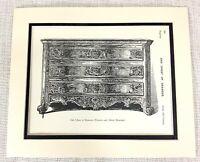 1903 Antico Stampa Reggenza Quercia Giropetto Di Cassetti Inizio 18th C Francese
