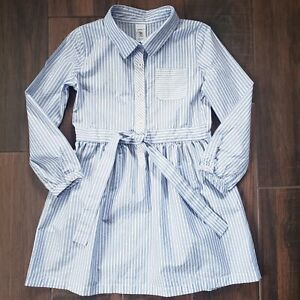 Carter's Toddler Girl Size 5T Blue & White Striped Long Sleeve Dress Button up