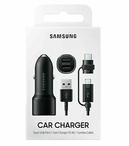 Samsung Galaxy S8 S9 10+ Note 8 9 Fast Car Charger Type-C/Micro USB Combo