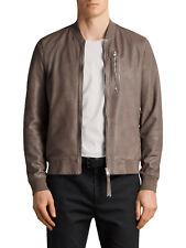 All Saints Leather Kino Bomber Jacket | Gravel | Size Medium | RRP £318