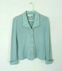 St John Evening Women's Size 2 Light Blue Wool Glittery Button Jacket Coat