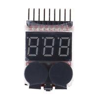 1-8S LED Low Voltage Buzzer Alarm Lipo Voltage Indicator Checker Tester BB
