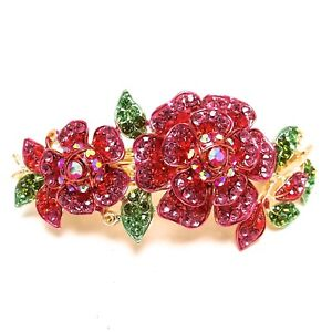 woman barrette crystal rhinestones metal flowers hair claws clips Barrette