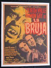 LA BRUJA The Witch HORROR MEXICAN MOVIE POSTER ON LINEN 1954 LILIA DEL VALLLE