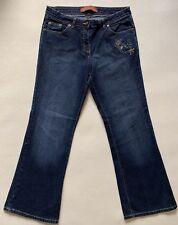 Ladies E-vie Bootcut Embellished Jeans UK Size 14 W32 L30 Blue