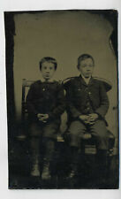 Antique Tintype Ferrotype Photograph of Two Young Brothers R10
