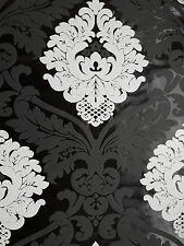 WOW! Bling Bling Black White Silver Glitter Damask Textured Feature Wallpaper