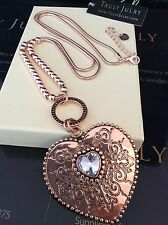 Ladies Designer Long Rose Gold Necklace Diamanté Heart Pendant Jewellery Gift UK