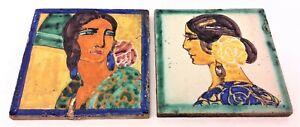 "Antique Original Yellow Blue Lady Women Figure Art Tiles Repaired 5.625""x5.625"""