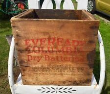 Antique Advertising Wooden Box EVEREADY BATTERIES RARE See!