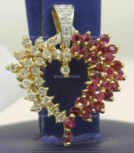 Round Red Ruby and Diamond Cluster Heart Charm Pendant 14K Yellow Gold Over 2 Ct