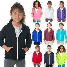Kids Unisex Girls Boys Plain Hooded Fleece Hoody Zip Zipper Top Coat Years 2-13