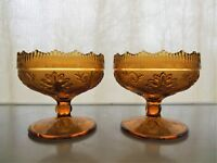 Tiara Indiana Glass 2 Amber Sandwich Taper Candle Holder Scalloped Footed Bowls