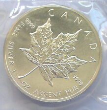 Canada 2004 Maple Leaf 5 Dollars 1oz Silver Coin,UNC