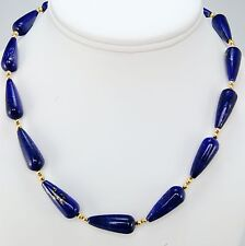 """Egyptian Tear Shaped Lapis Bead Necklace 16"""" Long Museum Jewelry"""
