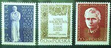 POLAND STAMPS MNH 2Fi1630-32 Sc1518-20 Mi1777-79 -Sklodowska-Curie,1967,clean