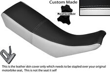 BLACK & WHITE CUSTOM FITS YAMAHA DT 125 R DTR 99-03 DUAL LEATHER SEAT COVER