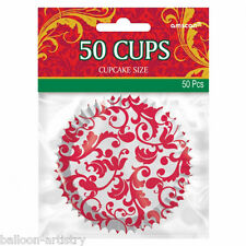 50 Christmas Party Elegant Red Swirl Paper Cupcake Cake Cases