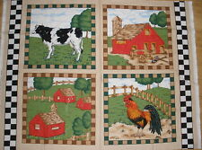 Farm Barn Rouster Cow Pasture  Fabric Pillow Cushion Panel
