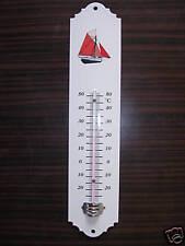 Thermomètre émaillé bateau rouge voilier 30 cm émail Véritable Neuf Fab. France