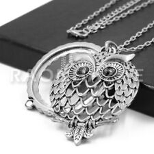 Owl with Back Onyx 5X Magnifying Glass Pendant Necklace Long Chain S