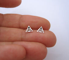 925 sterling silver cutout ILLUMINATI EYE triangle stud earrings