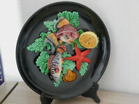 Nice VINTAGE PALISSY FRENCH  MAJOLICA PLATE mark VALLAURIS