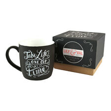 Lily & Val Take Life One Cup At A Time Boxed Mug Novelty Black Gift Coffee Tea