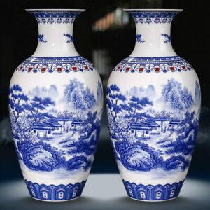 Pair Jingdezhen Ceramics Blue and White Porcelain Vase Antique reproduction