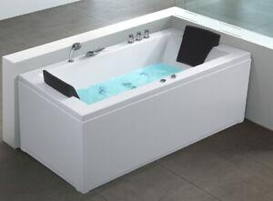 Designer Whirlpool Badewanne RECHTS mit Massage + LED Luxus Sprudelbad Eckwanne