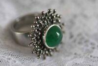 Charlotte 21 - Wechselköpfchen mit schönen grünen Achat gefasst in Silber