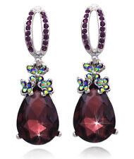 Plum Purple Dangle Teardrop Charm Prom Party Stud Post Earrings Women Jewelry