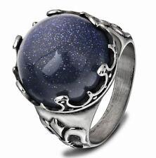 18k White Gold Plated Birth Stone Blue Gravel Gemstone Men Ring Size 10 M32