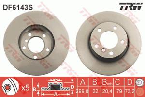 TRW Brake Rotor Front DF6143S fits BMW 4 Series 420 d (F36) 135kw, 420 i (F32...