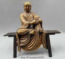 "16""Tibet Pure Bronze Copper Buddhism Free arhat monk Buddha Sit stool Statue"