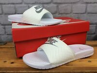 NIKE LADIES UK 8.5 EU 43 BENASSI WHITE SILVER SUMMER SLIDES SANDALS T