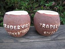 VTG Trader Vics Ceramic Aloha Coconut Mug Cup Lt Brown w/ White Rim Tiki Bar 2ct