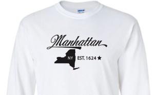 Manhattan New York T-Shirt  Long Sleeve Graphic tee