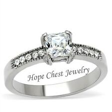 Clearance-Hcj Stainless Steel Princess Cut Bridal Cz Engagement Ring Sz 5, 10