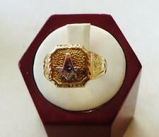 10 Kt. Yellow Gold Mans Masonic Ring From An Estate, Size 8½, Free USA Shipping