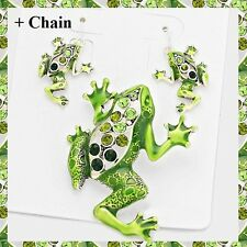 "Green Crystal Enamel Frog Love Pendant Earrings Set Necklace With 23"" Chain"