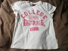 LONSDALE WHITE COTTON SHORT SLEEVED T SHIRT WITH  PINK MOTIF SIZE 12